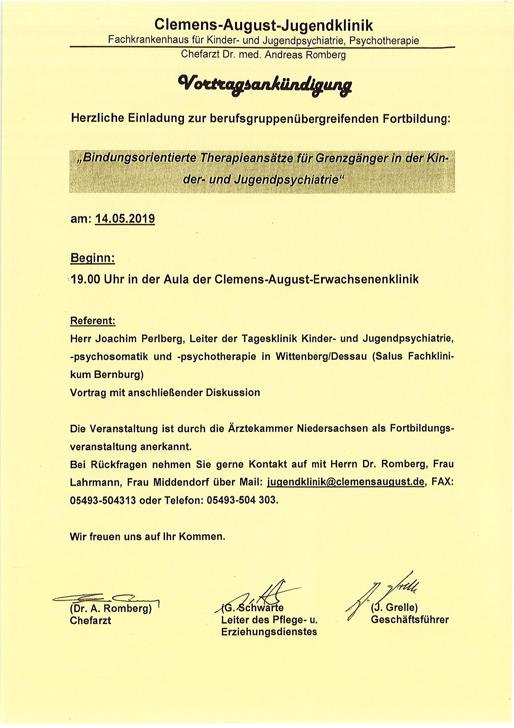 Vortragsankündigung: Bindungsorientierte Therapieansätze für Grenzgängerin der Kinder- und Jugendpsychatrie